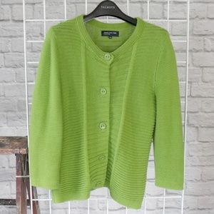 Pear Green Mixed Knit Button-down Sweater Cardigan